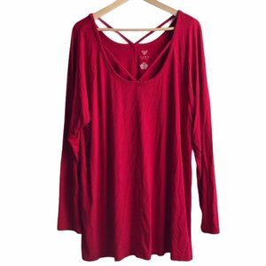 LIVI ACTIVE LANE BRYANT Red Strappy Long Sleeve 3X